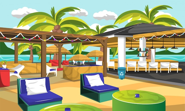 Strand outdoor cafe hawaiiaanse stijl