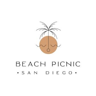 Strand picknick san diego palmboom met zonsondergang logo ontwerp inspiratie