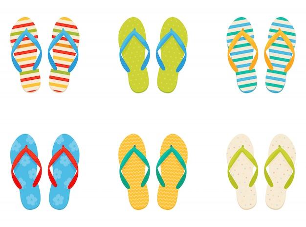 Strand sneakers. ingesteld in een vlakke stijl.