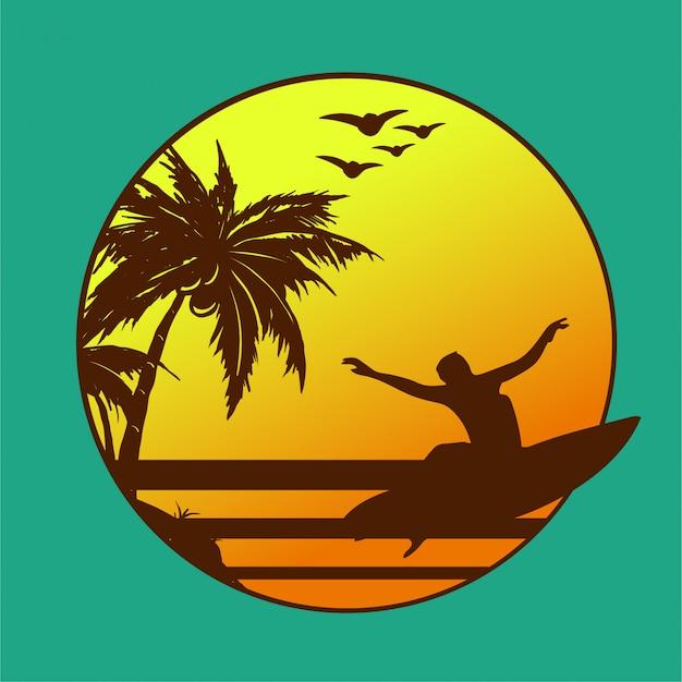 Strand surfen illustratie