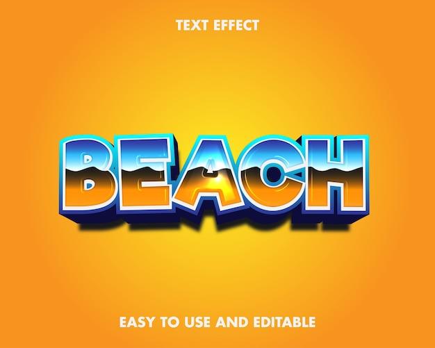 Strand teksteffect. gemakkelijk te gebruiken en bewerkbaar. premium vectorillustratie