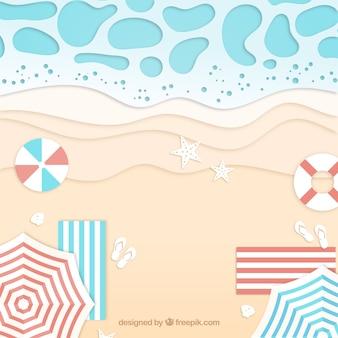 Strand vanaf de top in papieren stijl
