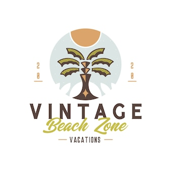 Strand vintage insignia logo ontwerp