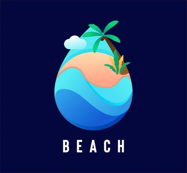 Strand waterdruppel logo met vlakke stijl