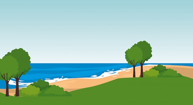 Strand zeegezicht scène
