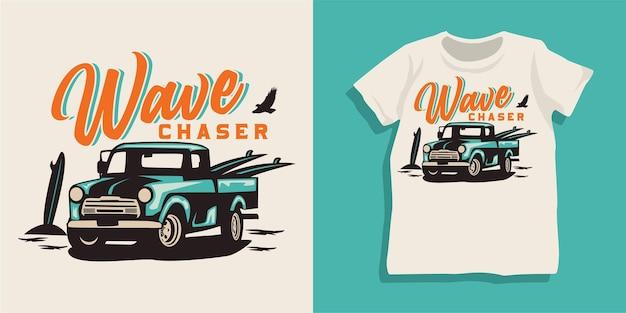 Strand zomer auto t-shirt ontwerp