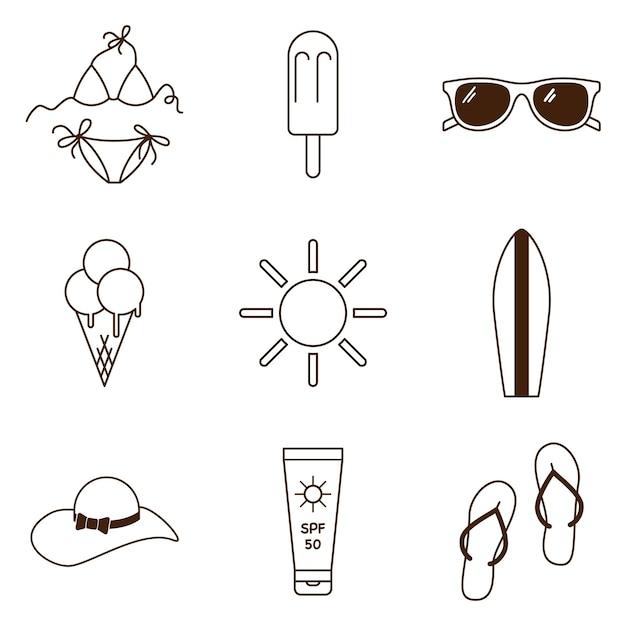 Strand zomer icons set. collectie van zee vakantie symbolen. overzichtspictogrammen voor de vrije tijd van het vakantiestrand. premium vector