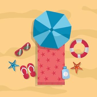 Strand zomer toerisme paraplu handdoek zonnebril flip flops reddingsboei zeester