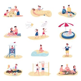 Strandactiviteiten egale kleur gezichtsloze tekenset. zomer recreatie. mensen bouwen zandkasteel, kinderen zwemmen in opblaasbaar zwembad geïsoleerde cartoon illustraties op witte achtergrond