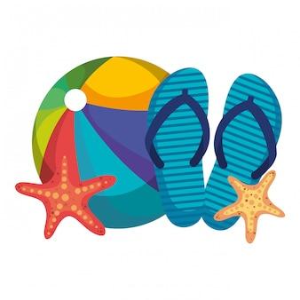 Strandballon met wipschakelaars en zeester