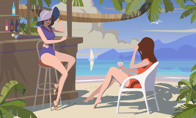 Strandbar, meiden in de loungebar