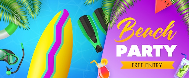 Strandfeest, gratis toegangsborden, surfplank, duikmasker
