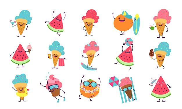 Strandfeestpersonages met grappige gezichten zwemmen en zonnebaden