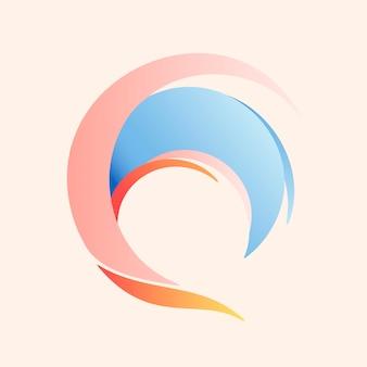Strandgolfsticker, esthetische water clipart, pastel logo-element voor zakelijke vector