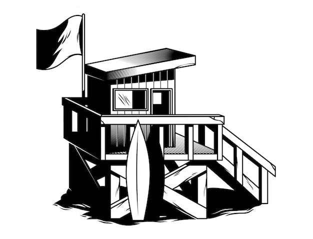 Strandhuis van surfclub in vintage zwart-wit stijl.