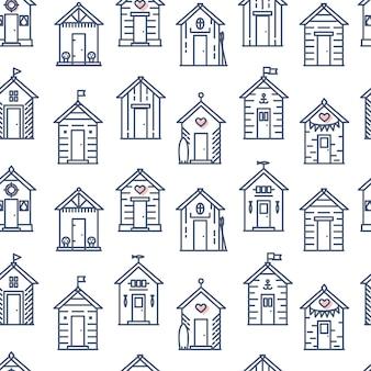 Strandhut patroon platte lijnstijl vector naadloze achtergrond