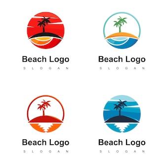 Strandlogo ontwerp voor reisorganisatie