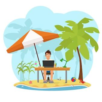 Strandmens die aan laptop werkt. freelancer op het strand dat aan een computer werkt.