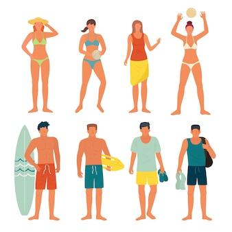 Strandmensen instellen Gratis Vector