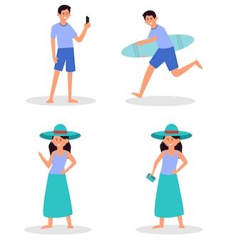 Strandmensen. koppel vakantie vakantie, zonnebaden op het strand en gelukkige vrienden zomerplezier. reiziger personages, play volley, zwemmersurfplank toerisme