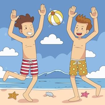 Strandmensen met bal Gratis Vector