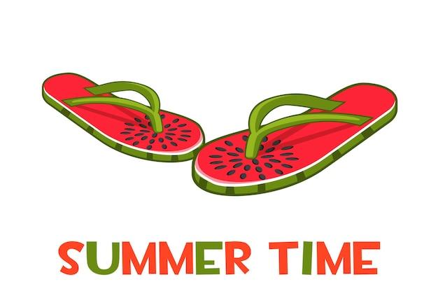 Strandpantoffels of slippers. geïsoleerde flip-flops en de inscriptie zomertijd.