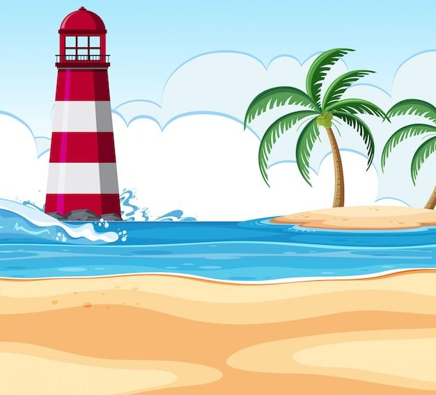 Strandscène met vuurtoren
