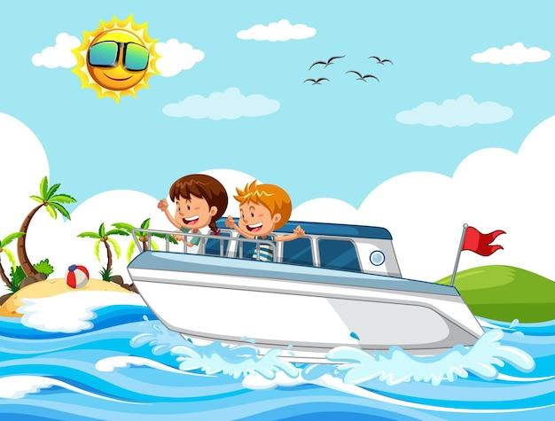 Strandtafereel met kinderen op een speedboot