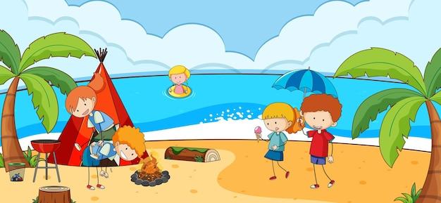 Strandtafereel met veel kinderen doodle stripfiguur