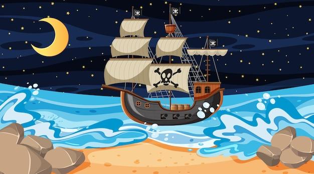 Strandtafereel 's nachts met piratenschip in cartoonstijl