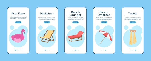 Stranduitrusting onboarding mobiele app scherm platte vector sjabloon
