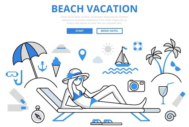 Strandvakantie tropisch eiland reizen resort lounge hotel boeking concept platte lijn kunst pictogram.