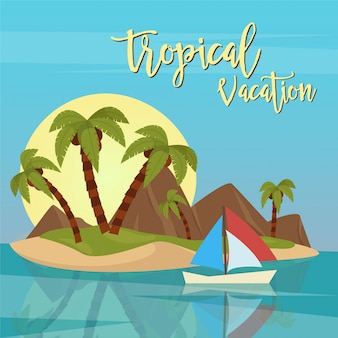 Strandvakantie. tropisch paradijs. exotisch eiland met palmbomen. vector illustratie