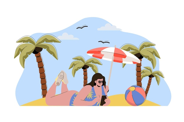 Strandvakantie web concept illustratie met platte mensen character