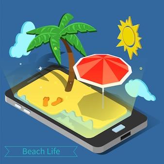 Strandvakantie. zomertijd. tropische vakantie. exotisch eiland. advertentie banner. telefoon met tropical island. palmbomen.