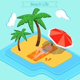 Strandvakantie. zomertijd. tropische vakantie. exotisch eiland. man op het strand. palmbomen. isometrische concept
