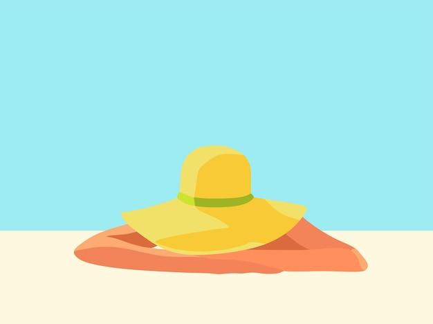 Strandvakanties een meisje met een hoed zonnebaadt op het gouden zand vector