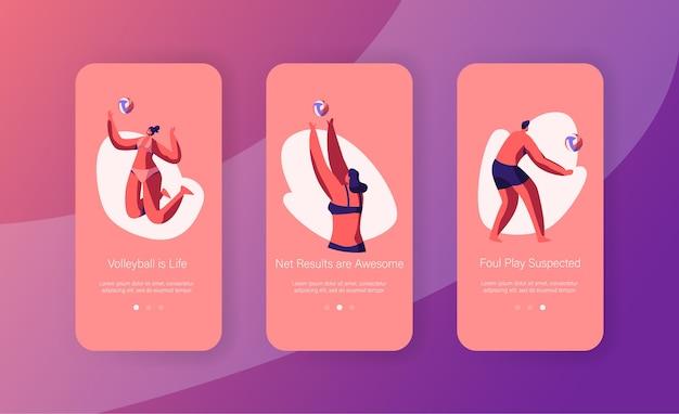 Strandvolleybalspelers voor mannen en vrouwen die een zwempak dragen bij dynamische sportactie, mobiele app-pagina schermset aan boord