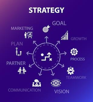 Strategie concept sjabloon. moderne ontwerpstijl. bevat iconen als doel, groei, proces, teamwork