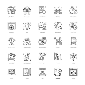 Strategie en management icons pack