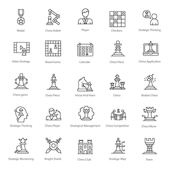 Strategie game line icons pack