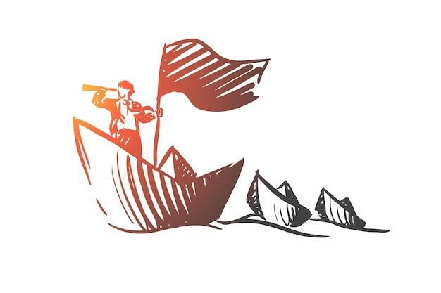 Strategie, koers, boot, uitzicht, zakenmanconcept. hand getekende zakenman zeilen op boot concept schets.