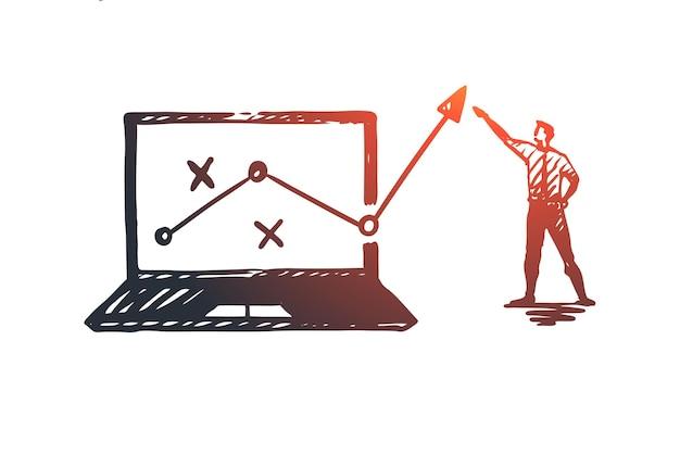 Strategie, marketing, grafiek, diagram, pijlconcept. handgetekende manager rapporteert over vooruitgang concept schets.