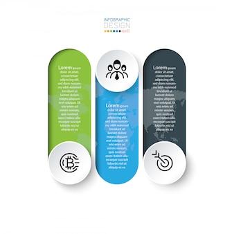 Strategie marketing zakelijke verwerking infographic 3 opties presentatie