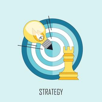 Strategieconcept: lamp en doel in lijnstijl