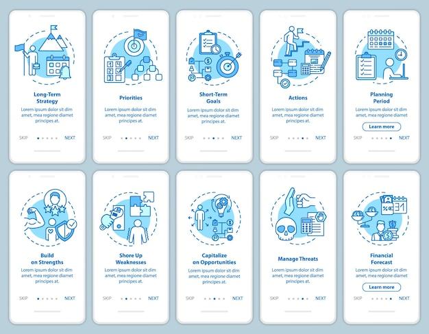 Strategieën onboarding mobiele app paginascherm met concepten. opstart ontwikkeling. zelfbouw walkthrough 5 stappen grafische instructies. ui-vectorsjabloon met rgb-kleurenillustraties
