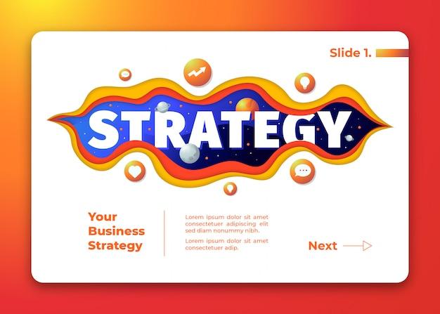 Strategieillustratie met ruimteachtergrond en financiënpictogrammendocument gesneden stijl