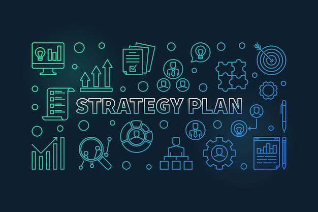 Strategieplan horizontale kleurrijke overzicht pictogram illustratie