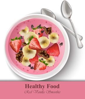 Strawberry banaan vanille smoothie realistisch. gezonde voedingssjabloon