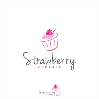 Strawberry cup cake logo bakkerij vector zoet dessert